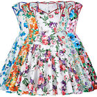 UK CHARM 50'S RETRO VINTAGE STYLE POLKA DOT ROCKABILLY SWING HALTER FLORAL DRESS