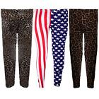 Children's Leopard Stars USA Flag Union Jack Print Girls Trousers Leggings