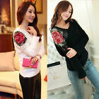 Women Lady Winter V Neck Long Sleeve Rose Embroidery Knit Warm Pullover Sweater