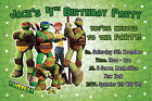 TMNT Teenage Mutant Ninja Turtles Invites Birthday Party Invitations x 5