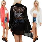 New Womens Ladies Back Lace Open Knitted Waterfall Cardigan Size S M L XL 8 14