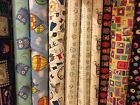 1m Childrens Kids Fabric 100% Cotton Material Dress Making Quilting