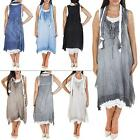 Double Layered Italian Sleeveless Summer Party Mid Party Tunic Dress Plus Size L