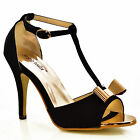 NEW Womens Black Mid Heel Gold Bow Front T-Bar Ankle Strap Peep Toe Sandals Size