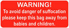 Safety Labels Grip Seal Bags Warning! Danger of Suffocation Stickers