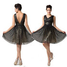 Pretty Evening Prom Gowns Cocktail Dress Deep V Neck Black 6 8 10 12 14 16 18 20