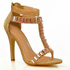 NEW Womens Gold T-Bar Ankle Strap High Heel Stiletto Evening Sandals Shoes Size