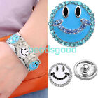 Pick Charms Crystal Smiling Face Buttons Fit Punk Leather Bracelet Pop DIY