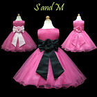 USD58 Pink Black Pageant Easter Flower Girls Dress 1,2,3,4,5,6,7,8,9,10,11-13Yrs