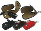 Genuine Leather Car Key Chain Holder With Clip Round Pouch Case