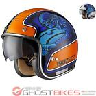 LIMITED EDITION BLACK MOTO-RACER RETRO OPEN FACE SCOOTER MOTORCYCLE BIKE HELMET