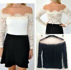 New Fashion Womens Sexy Off-Shoulder Long Sleeve Lace T-Shirt Slim Blouse Tops