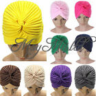 Indian Cap Pleated Head Wrap Turban Stretchy  Band Hat Cloche Chemo Hijab Z