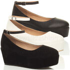 Womens ladies mid heel platform flatform full toe ankle strap wedge shoes size