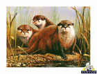 Tuftop Glass Chopping Board Otter Trio Family Wildlife Kitchen Worktop Saver