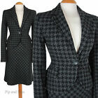 MEXX SKIRT SUIT SIZE 10 12 14 GREY BLACK A-LINE WOOL DOGTOOTH CHECK WOMEN LADIES