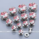 "Pair 6g-9/16"" Peony Flower Floral Stainless Steel Ear Tunnel Plugs Earlets Punk"