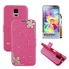 3D Petals Rhinestone PU Wallet Flip Stand Case Cover For Samsung Galaxy S5 i9600