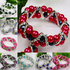 Faux Pearl Crystal Glass Faceted Spacer Beads Women Bracelet Bangle Jewelry Gift