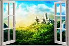 Huge 3D Window Fantasy Castle in a Forest View Wall Stickers Decal Mural