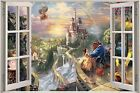 Huge 3D Window Fantasy Castle Princess Prince View Wall Stickers Decal Mural