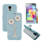 3D Eiffel Tower PU Wallet Flip Stand Case Cover Skin For Samsung Galaxy S5 i9600
