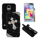 3D Rhinestone Black PU Wallet Flip Stand Case Cover For Samsung Galaxy S5 i9600