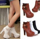 Womens Ladies Buckle Strap High Heel Platform Ankle Boots Shoes 3 Colors C11