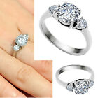 Womens Stainless Steel Cut 7.8mm CZ Crystal Ring Promise Engagement Wedding Gift