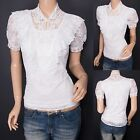 Fabulous Victorian Lace Floral Ruffles Short Sleeves Summer Blouse Top