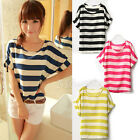 Trendy Women Batwing Blouse Chiffon Striped Short Sleeve Loose Tops T-shirt Tee