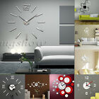 DIY Wall Clock 3D Home Modern Decoration Crystal Mirror Living Room Gift sticker