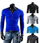 Mens Stylish Slim Fit V Neck Long Sleeve Casual T-Shirt Shirt Top M-XXL 4 Colors