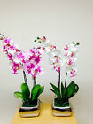 Artificial Potted Plants - 56cm Large Orchid White Pink Flowers In A Silver Pot