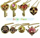New Gold Color Hot Anime Sailor Moon key Heart pendants + chain necklace set