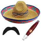 6 X MEXICAN SOMBRERO STRAW HAT MOUSTACHE CIGAR WESTERN BANDIT FANCY DRESS STAG