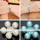 Womens Faux Pearl Crystal Plum Flower Studded Snap On Chunk Button Fit Bracelet