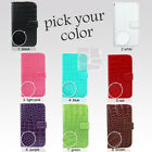 Synthetic Crocodile Wallet Leather Case Cover Magnetic Pouch w Wristlet For LG
