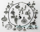 "Tibetan Silver Charms Gothic Black Leather Cord Necklace Wiccan Pagan 17""+2""ext."