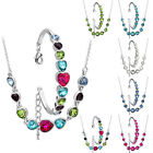 Heart Shape Crystal Stone Bracelet Necklace Set White Gold Plated Multi Color