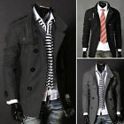 New Mens Fashion Casual Double Breasted Trench Slim Fit Long Coat Hoodies Jacket
