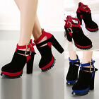 Ladies Sexy Lace Up Suede Platform Wedge Block Heels Ankle Boots Booties Shoes