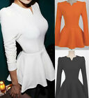 Vintage Women Puff T-Shirt Long Sleeves Fitted Tunic Peplum Blouse Tops New