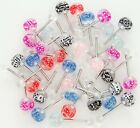 New Surgical Steel Novelty Acrylic Floating Dice Tongue Bar Stud 14g
