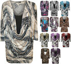 New Plus Size Womens Print Cowl Neck Short Sleeve Ladies Insert Top 14 - 28