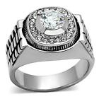 Men's Stainless Steel Raised Round Halo CZ Bold Silver Ring SZ 8-13