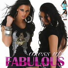 NEW WOMENS TOP Size 8-10 SEXY PARTY CASUAL V-NECK T- SHIRT HOT TATTOO CLOTHING