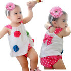 Baby Girls Outfit Flower Top+Pants+Headband 3Pcs Sets 0-18M Bloomers Nappy Cover