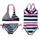 Girls Princess Swimwear Swimsuit Bow Striped Bathing SZ3-12Y Kids Bikini Tankini