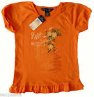 NWT Ralph Lauren Girls Payson Jersey Peplum Blouse/Top S 6X Cotton Orange Cotton
